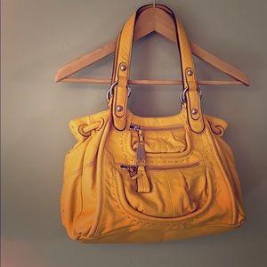 Summery yellow b. Makowsky leather should bag